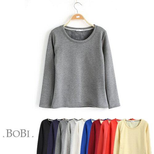 T恤 素色刷毛保暖簡約長袖T恤【MZTX1531】 BOBI  08/18 0