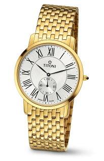 TITONI瑞士梅花錶TQ52917G-375 Slenderline系列羅馬纖薄時尚腕錶/白面38mm
