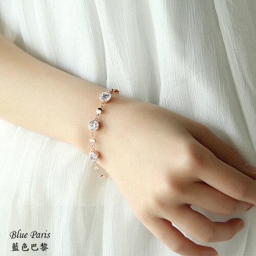 韓國時尚鑽石玫瑰金手鍊【21528】藍色巴黎-現貨商品【防過敏】 0