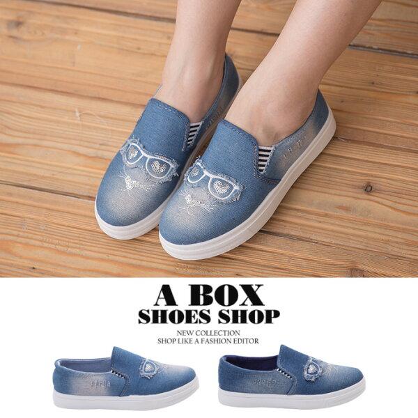 格子舖*【ASA-5】簡約個性單寧牛仔刷白刷破 V口鬆緊穿拖 2.5CM帆布鞋 懶人鞋 2色