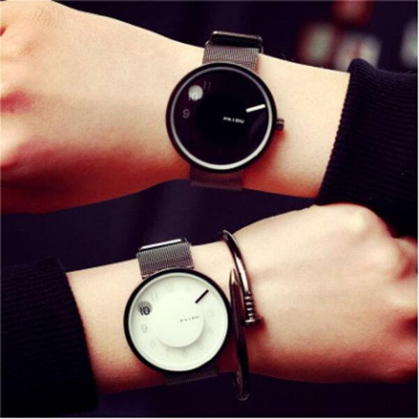 50%OFF【H013647WAH】新概念創意手錶女時尚潮流個性韓版男中學生簡約復古黑白情侶一對附錶盒