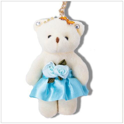 美麗新晴【SE0005】藍色玫瑰小熊吊飾 現+預