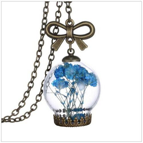 美麗新晴【SE1670】藍色清新花園玻璃瓶項鍊 現+預