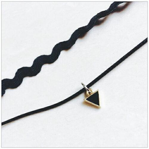 美麗新晴【SE5490】黑色幾何三角形波浪紋雙層項鍊 現+預