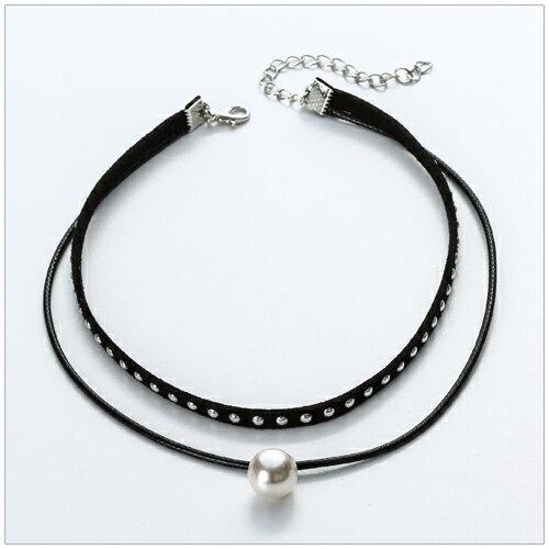 美麗新晴【SE54992】圓形鉚釘珍珠墜飾雙層頸鍊/項鍊 現+預