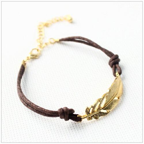 美麗新晴【SE7973】森林系金色樹葉皮繩手鍊 現+預