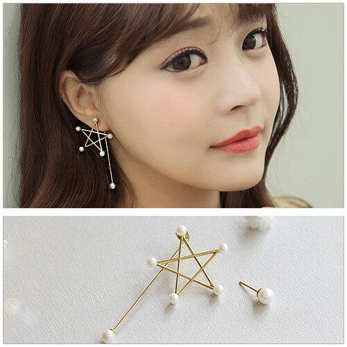 美麗新晴~SG0062~少女時代允兒同款五角星珍珠不對稱耳環 現 預 ~  好康折扣
