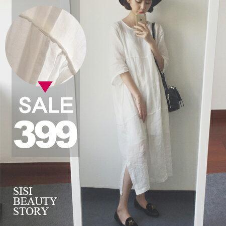 SISI【E6017】韓版純淨白圓領中長款拼接泡泡袖連身長裙開叉洋裝+細肩內搭