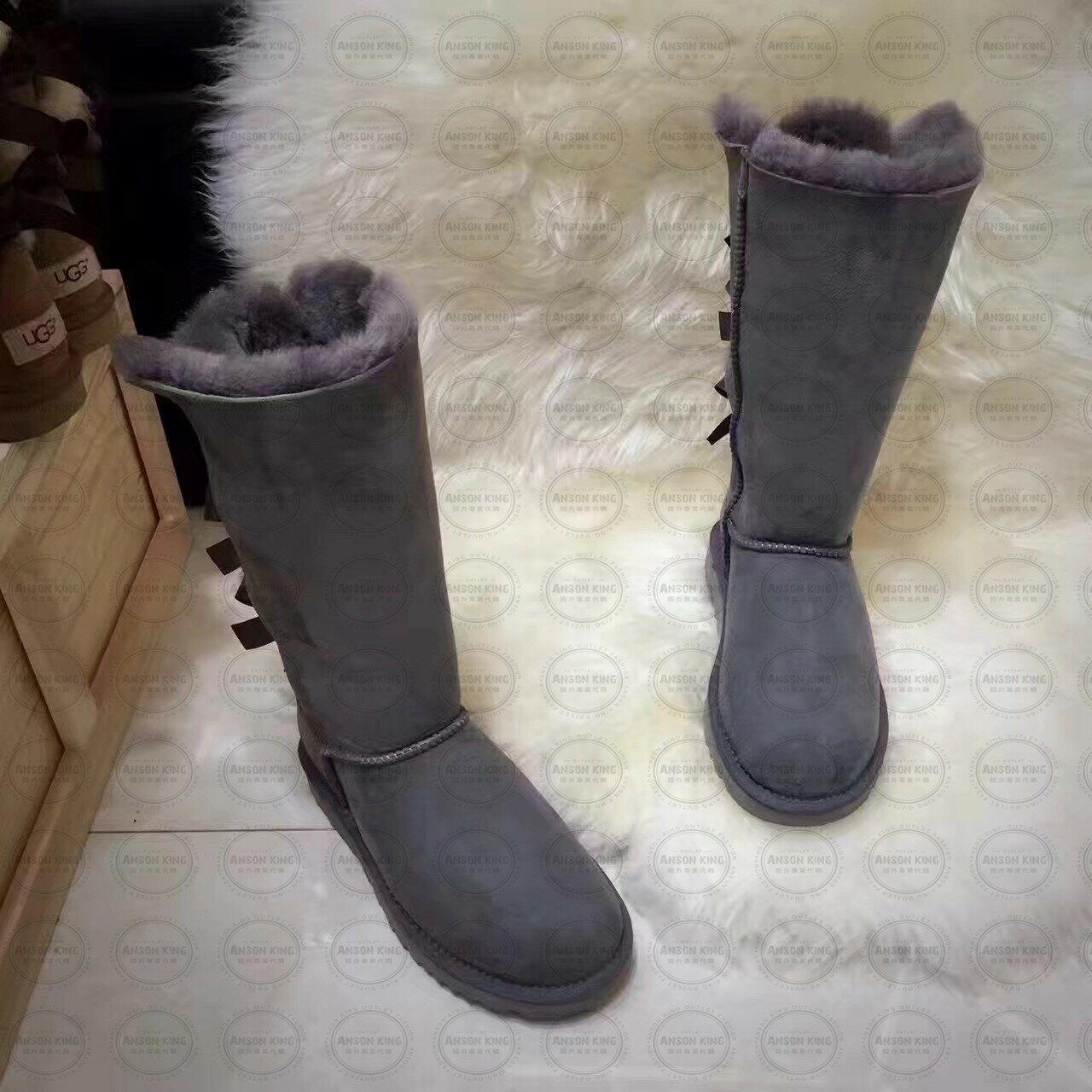 OUTLET正品代購 澳洲 UGG 一體女式絲帶蝴蝶結 保暖 真皮羊皮毛 雪靴 短靴 灰色 1