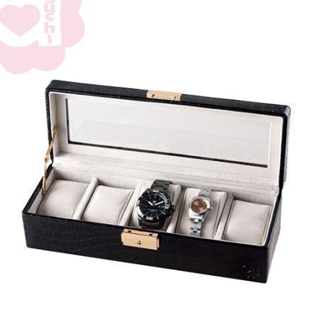 【Aguchi 亞古奇】奢華錶情-經典黑 錶盒(氣質貴族系列) 1