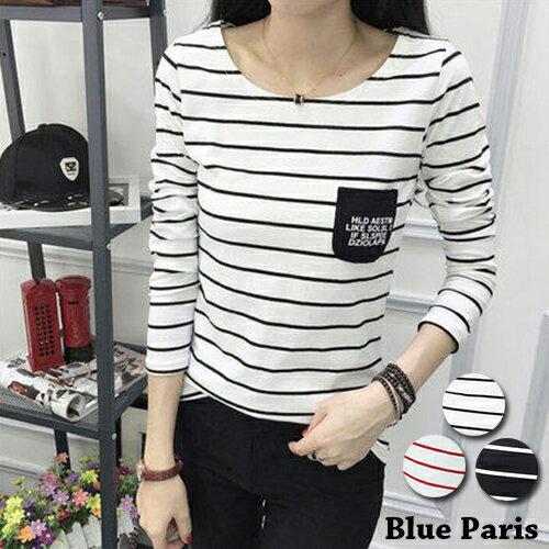 上衣 - 胸前字母小口袋造型條紋長袖T恤【29168】藍色巴黎《3色》 現貨+預購 0
