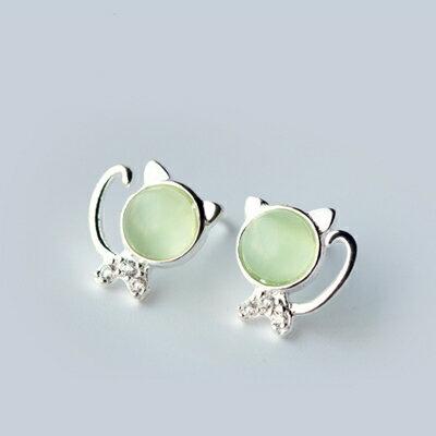 925純銀耳環耳針式耳飾~清新綠貓眼小貓咪 生日情人節 女飾品73dr56~ ~~米蘭 ~