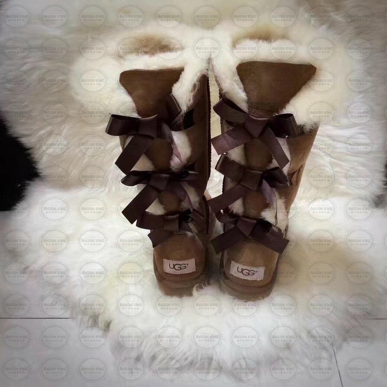 OUTLET正品代購 澳洲 UGG 一體女式絲帶蝴蝶結 保暖 真皮羊皮毛 雪靴 短靴 棕色 3