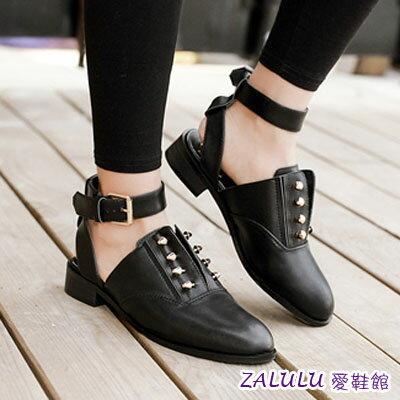 ☼zalulu愛鞋館☼ GA023  主打尖頭金扣露踝女低跟涼鞋包鞋~黑~35~39