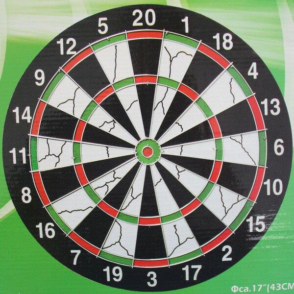 17吋飛鏢盤+針標6支 17115 直徑42cm雙面針式飛鏢靶 飛標盤/一個入{促299}~群