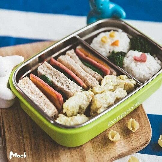 美國【Kangovou】小袋鼠不鏽鋼安全餐盒(青蘋綠) 0