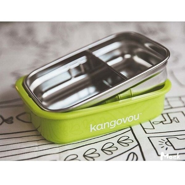 美國【Kangovou】小袋鼠不鏽鋼安全餐盒(青蘋綠) 1