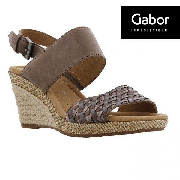 Gabor 滾騰編織感楔型鞋 深咖 0
