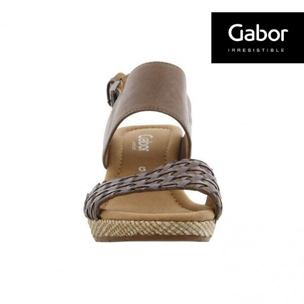 Gabor 滾騰編織感楔型鞋 深咖 2