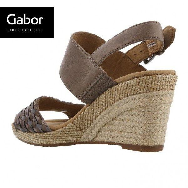 Gabor 滾騰編織感楔型鞋 深咖 3