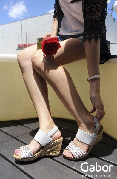 Gabor 滾騰編織感楔型鞋 米 3
