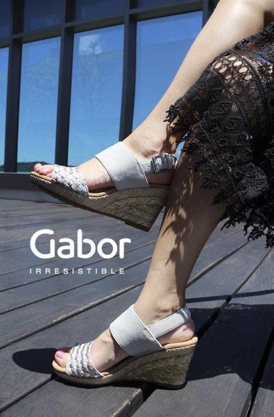 Gabor 滾騰編織感楔型鞋 米 4