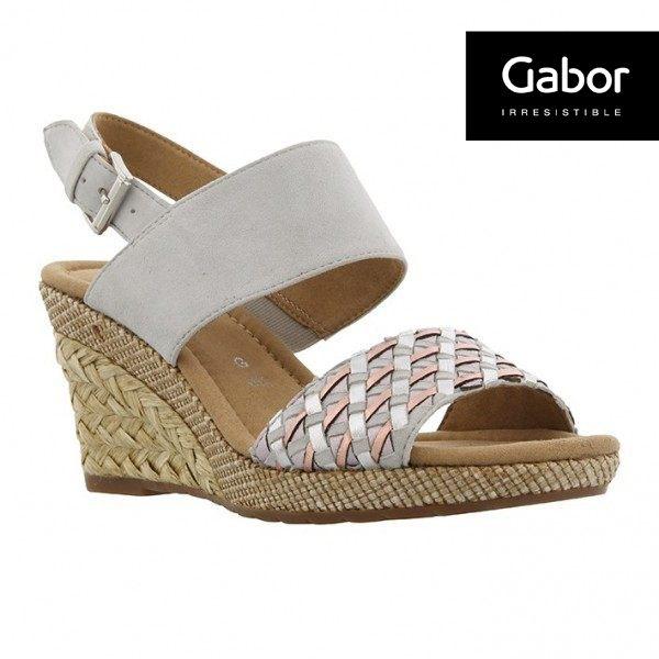 Gabor 滾騰編織感楔型鞋 米 6