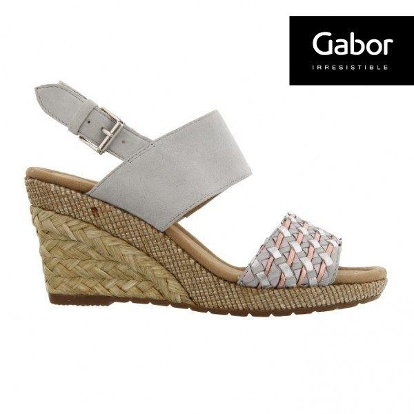Gabor 滾騰編織感楔型鞋 米 7