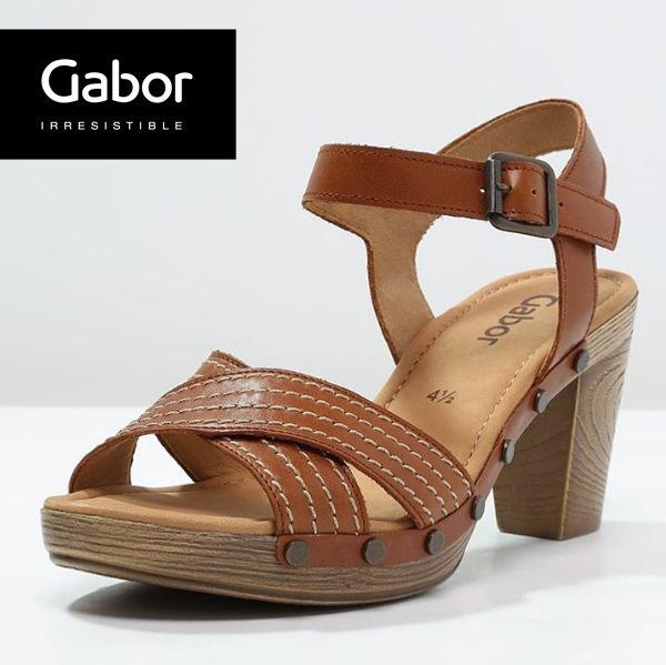 Gabor 真皮交叉線條原木底涼鞋 咖 0