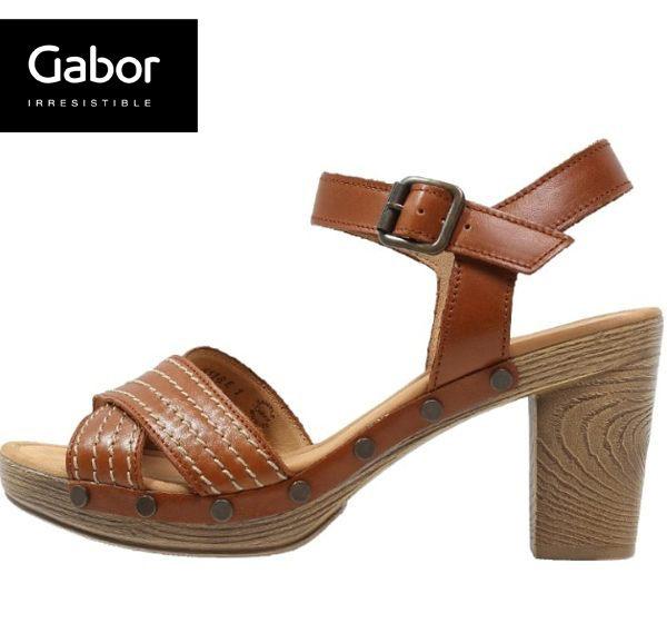 Gabor 真皮交叉線條原木底涼鞋 咖 1