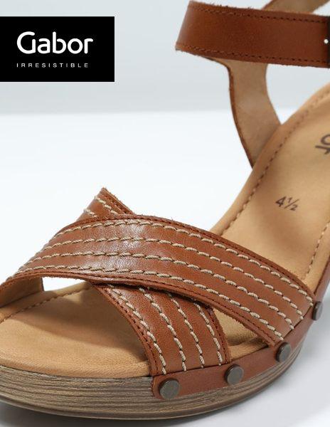 Gabor 真皮交叉線條原木底涼鞋 咖 2