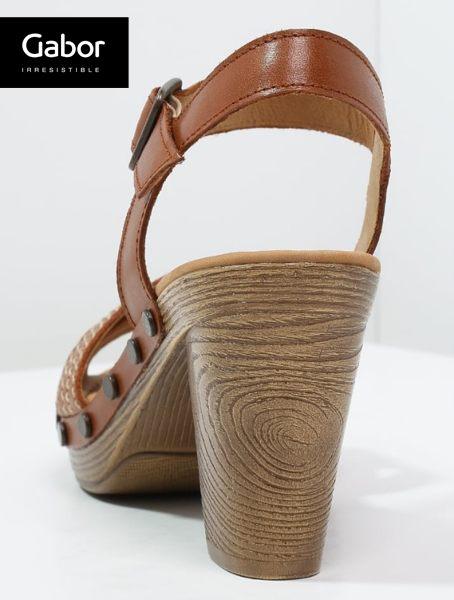 Gabor 真皮交叉線條原木底涼鞋 咖 3