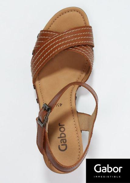 Gabor 真皮交叉線條原木底涼鞋 咖 4