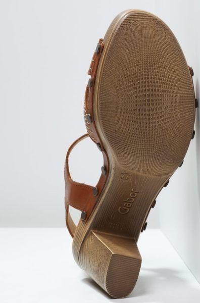 Gabor 真皮交叉線條原木底涼鞋 咖 5