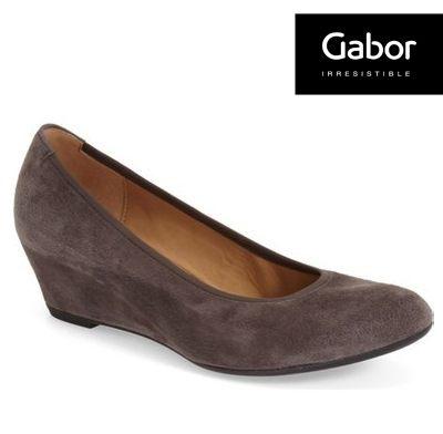 Gabor 皮革中跟鞋 素面灰 ~  好康折扣