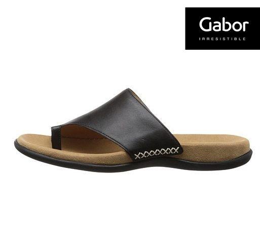 Gabor 歐美時尚夾趾涼拖鞋 黑 1