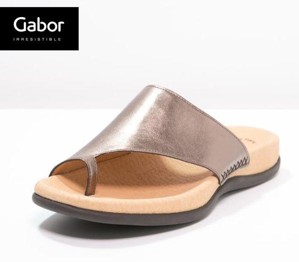 Gabor 歐美時尚夾趾涼拖鞋 銀 0