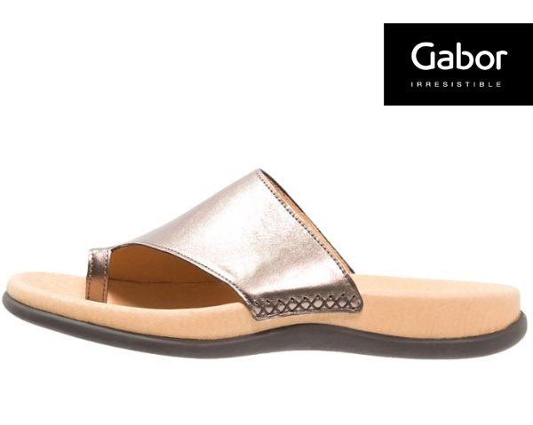 Gabor 歐美時尚夾趾涼拖鞋 銀 2