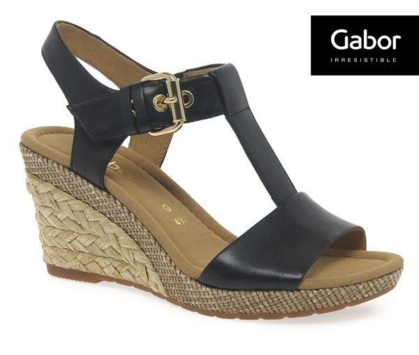 Gabor 修身輕躍 時尚金屬扣飾楔型涼鞋 黑 0