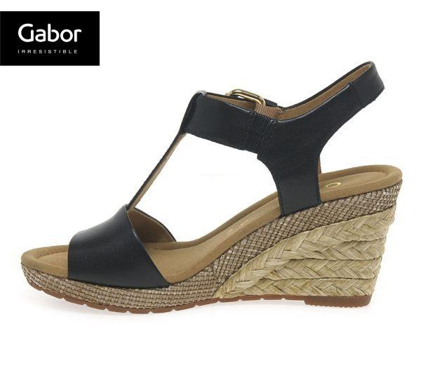 Gabor 修身輕躍 時尚金屬扣飾楔型涼鞋 黑 1