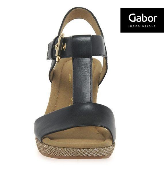 Gabor 修身輕躍 時尚金屬扣飾楔型涼鞋 黑 2