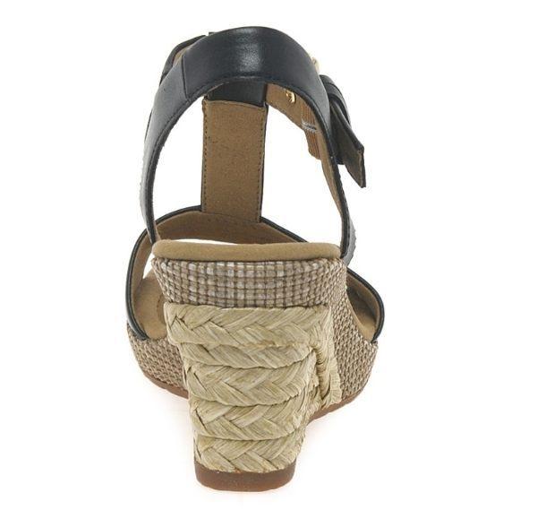 Gabor 修身輕躍 時尚金屬扣飾楔型涼鞋 黑 3