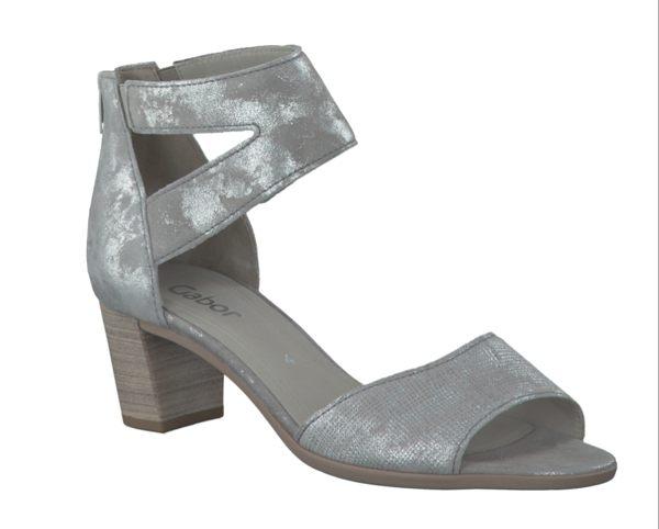 Gabor 亮蔥銀交叉繞踝粗低跟涼鞋 1