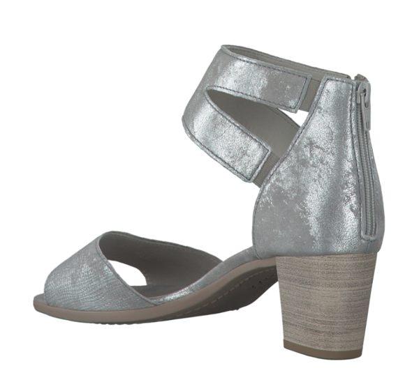 Gabor 亮蔥銀交叉繞踝粗低跟涼鞋 2