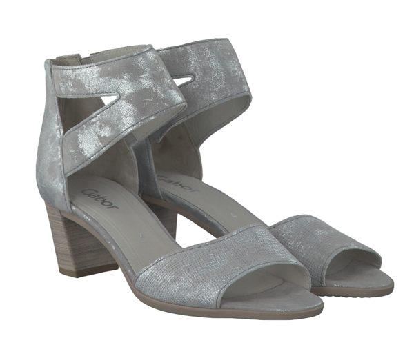 Gabor 亮蔥銀交叉繞踝粗低跟涼鞋 4
