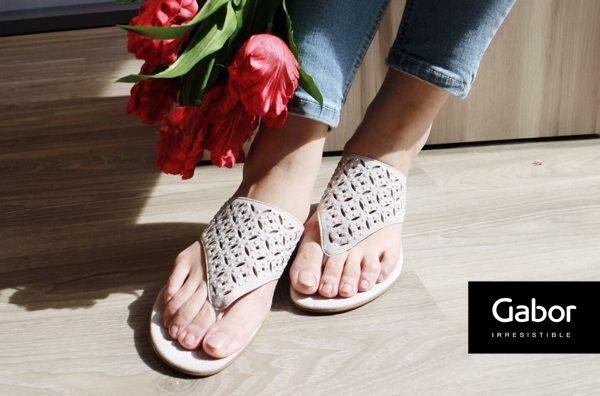 Gabor 鑽飾夾腳涼拖鞋 白 0