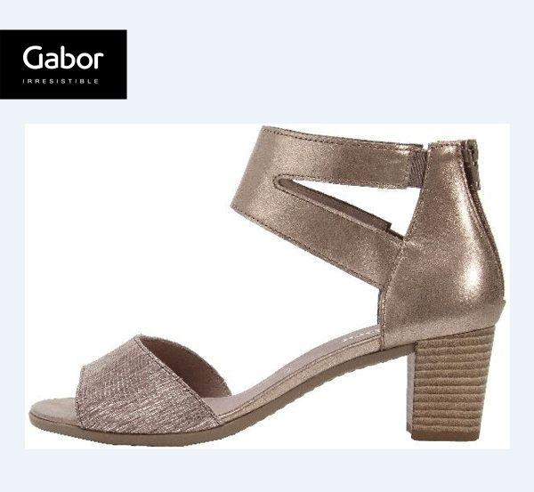 Gabor 亮蔥金交叉繞踝粗低跟涼鞋 0