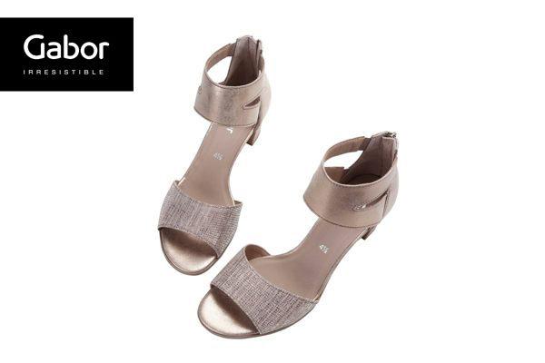 Gabor 亮蔥金交叉繞踝粗低跟涼鞋 4