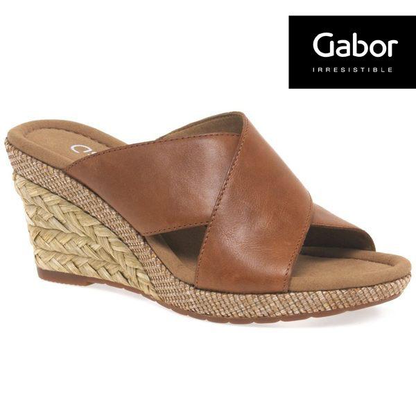 Gabor 皮革交叉帶楔型涼鞋 0