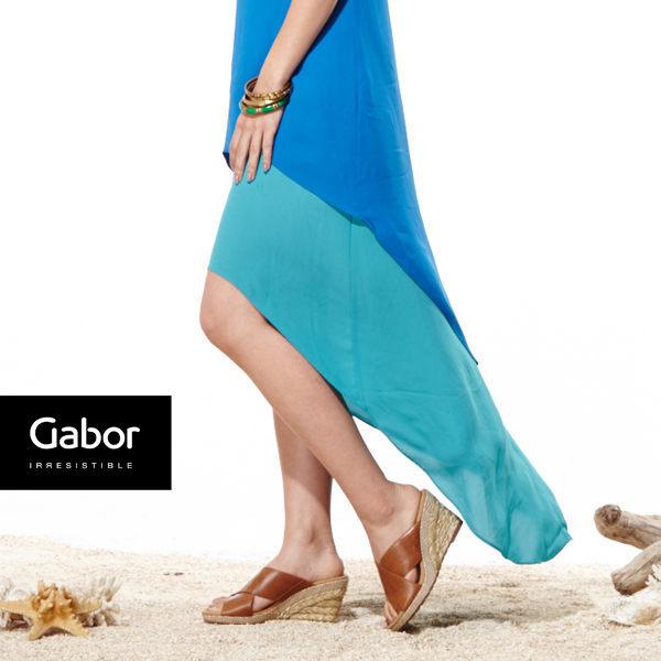 Gabor 皮革交叉帶楔型涼鞋 1